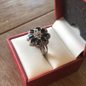 Onyx & Diamond Accent Flower Ring Sterling Silver